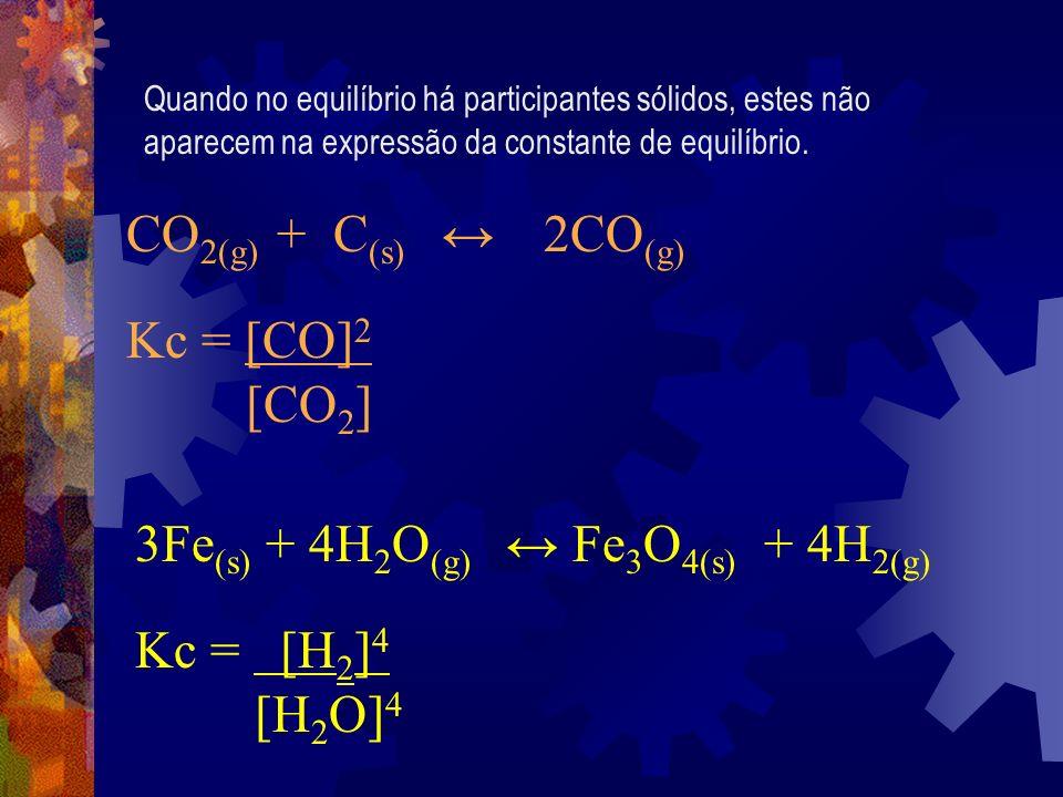 3Fe(s) + 4H2O(g) ↔ Fe3O4(s) + 4H2(g) Kc = [H2]4 [H2O]4